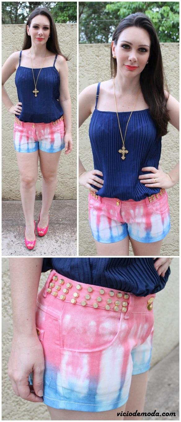 Short tie dye rosa e azul