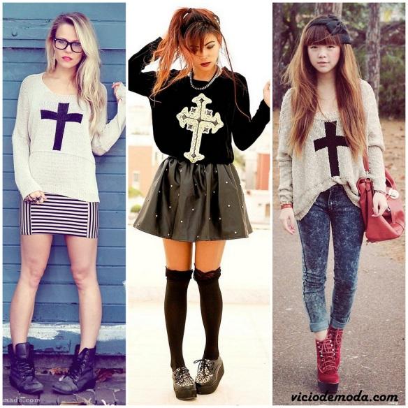 Suéter com estampa de cruz