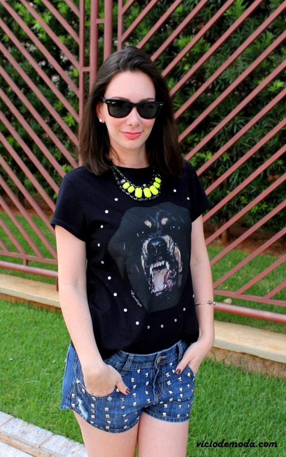 Camiseta rottweiler Givenchy inspired e maxi colar neon 2