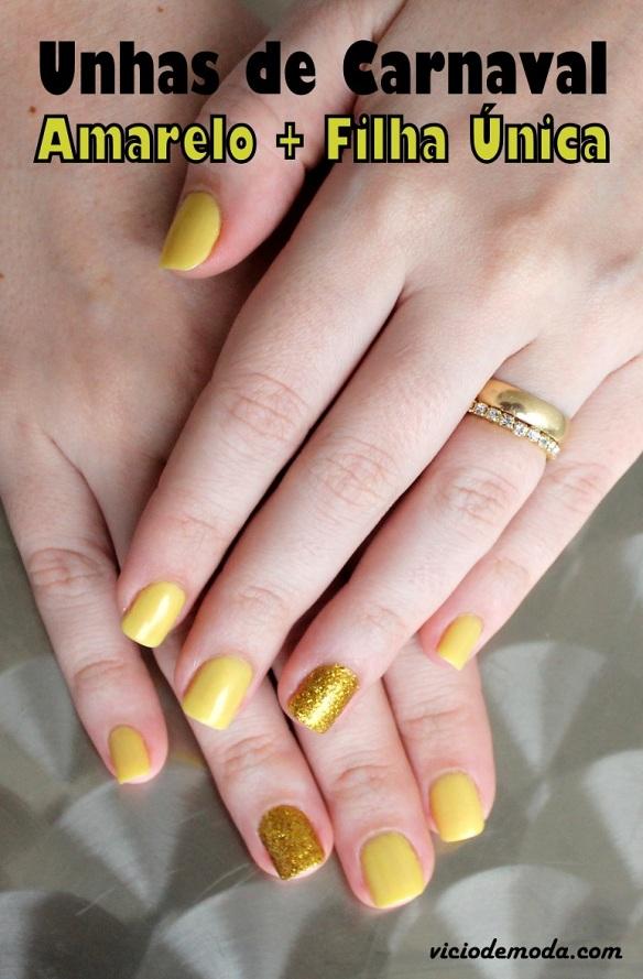 Esmalte amarelo e filha única de glitter dourado