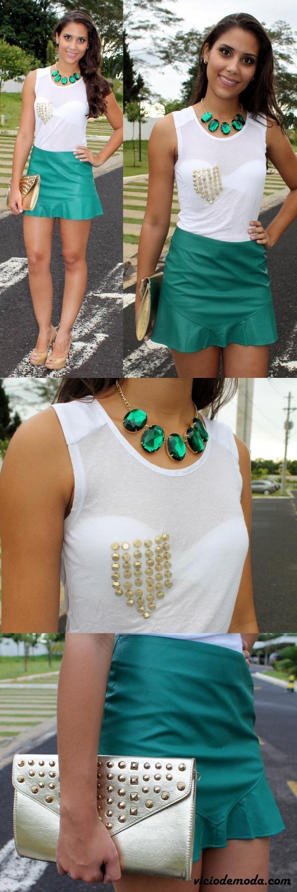 Saia godê verde esmelralda e blusa com bolso de spikes