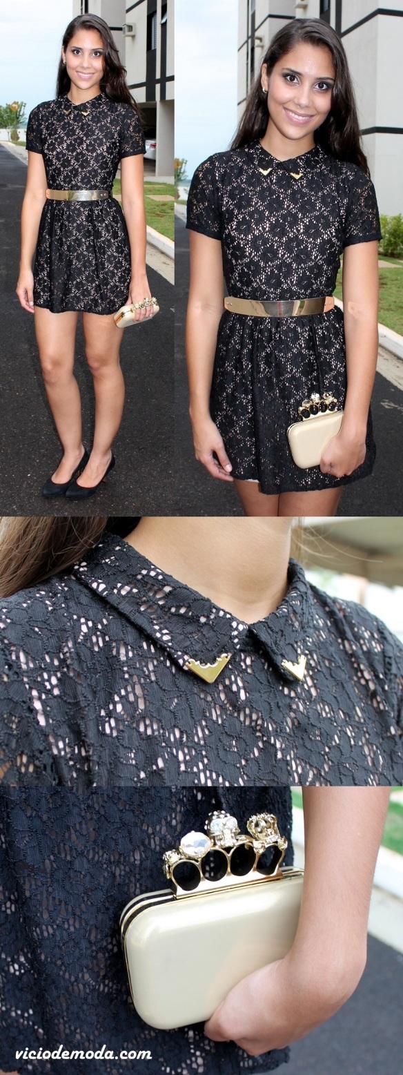 Vestido de renda preta com forro nude e biqueira dourada na gola