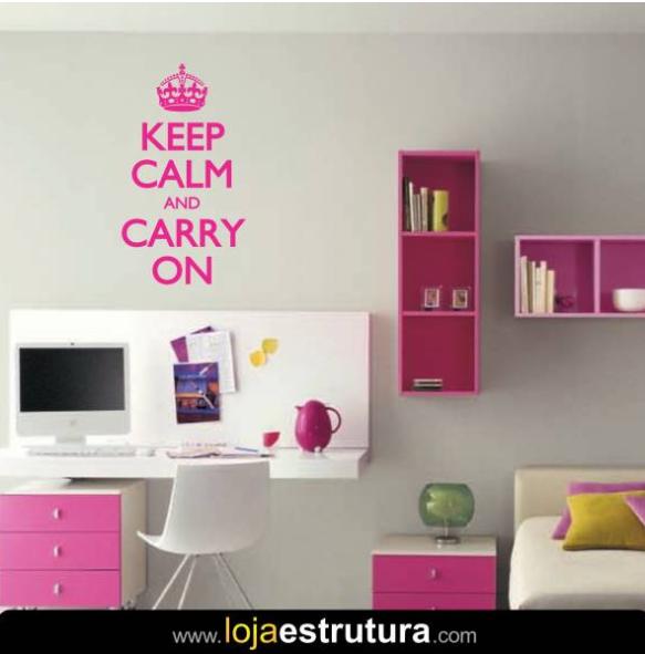 Adesivo de parede keep calm and carry on 3