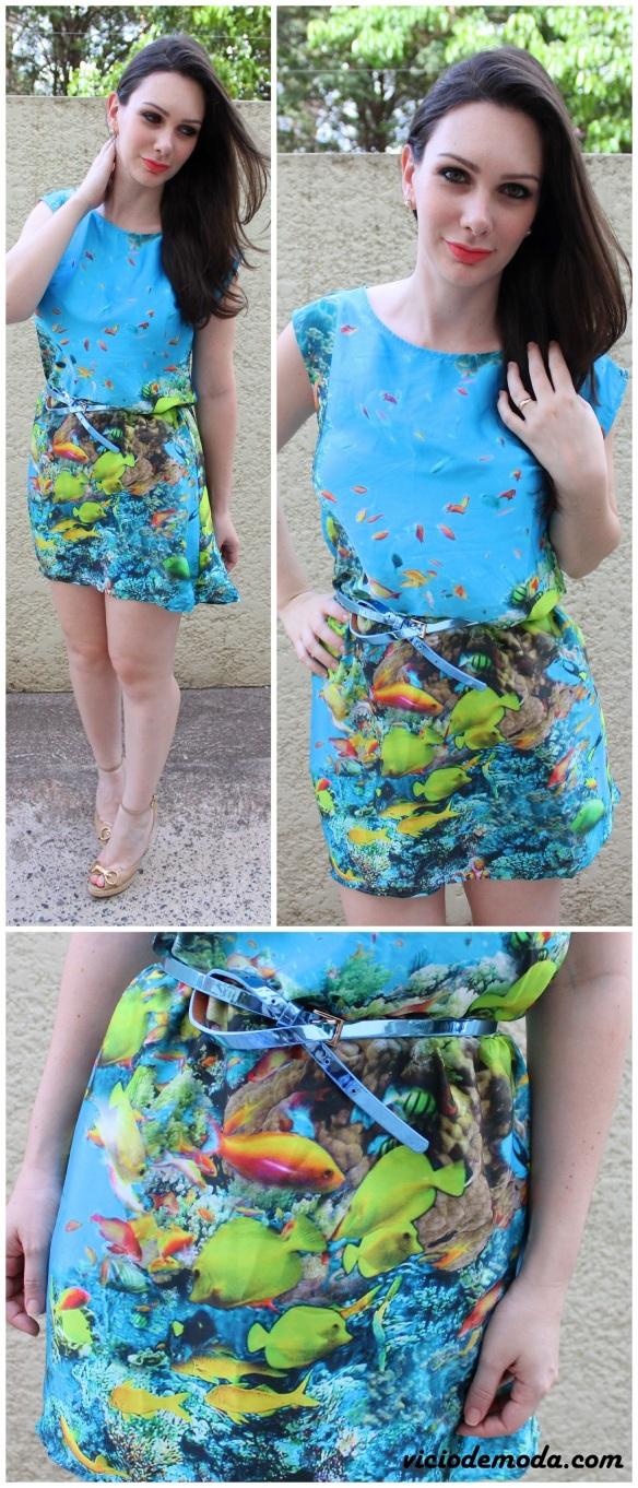 Vestido com estampa de fundo do mar